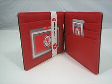 Red Slim Bifold Money Clip Synthetic Leather ID Card Pocket Slots Wallet