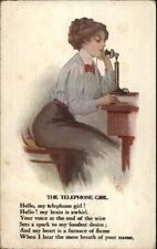 Brill -Beautiful Woman on Telephone & Poem c1910 Postcard