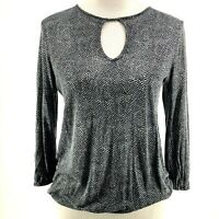 Michael Kors Ladies Black White Animal Print Keyhole 3/4 Sleeve Knit Top Size XS