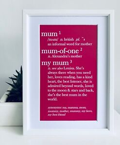Personalised Art 'Mum Dictionary Print'. Gift for birthdays or Mother's Day