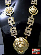 Lion Head Chain Crystal Greek Vector Cuban Necklace Hip Hop Iced Out Gold Tone