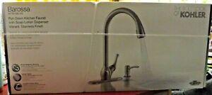 KOHLER BAROSSA Pull-Down Sprayer Kitchen Faucet W/ Soap Dispenser R776-SD-VS NEW