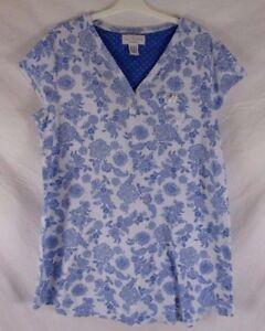 Karen Neuburger Encore Womens Nightgown Sz L Blue Floral Sleep Shirt CB69G