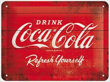 A5 Retro Tin Metal Embossed Sign COCA-COLA 15x20cm Red Logo Coke Licensed Prod