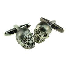 English Made Pewter Skull Cufflinks in a Box XWCL119
