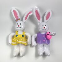 "2 Vintage Inflatable Easter Bunny Rabbit Blow Up 18"" Tall"