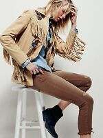 Free People Sydney Fringed & Beaded Suede Jacket Taupe Western Sz XS $598 NWT