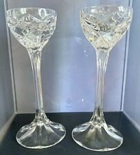 """Lead Crystal Candlesticks Candle Holders Traditional Pillar Star 8"""" Taper 2x"""