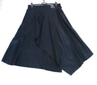 Ladies M&S Size 16  Black Linen Wrapover Asymmetric Skirt Part Lined Bnwt