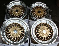 "15"" Gold RS Alloy Wheels Fits Bmw e21 e30 Chevrolet aveo corsa lanos 4x100"
