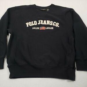 VTG Polo Jeans Co Ralph Lauren Blue Spellout Crewneck Sweatshirt Size Medium