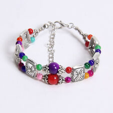 Free shipping New Tibet silver multicolor jade turquoise bead bracelet S15B