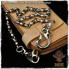 Boka Cronos Nickel Silver White Brass Biker Harley Motorcycle Wallet Chain Hook
