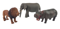 Tomy Ania African animal lot of 3 Elephant, Lion, Hippo