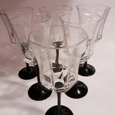 France Set Of Six Hexagon Wine Glass With Black Stems