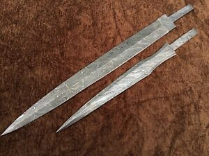 Lot of 2 Custom Handmade Damascus Steel Blank Blades Knife making Supplies 2B1