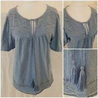 Falmer Heritage Womens Blue Boho Tee Top Cotton Size 14 Autumn Tassle Tie