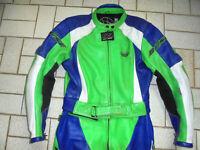 BÜSE Kombi Motorradkombi vintage Lederkombi neon racing Motorrad biker 40