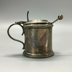 Vintage or Antique Silver Plated Walker and Hall Mustard Pot With Glass Liner