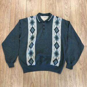 Mens Vintage Sweater Sweatshirt M Medium St Michael M&S Blue B6042