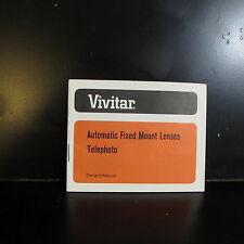 Used Vivitar Automatic Fixed Mount Lenses Telephoto Owner Guide 135mm f2.8 M42