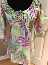 Lisa Curran tunic Caftan  peasent Swimsuit Cover-Up Dress $160 cotton sz M  NEW