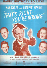 """THAT'S RIGHT YOU'RE WRONG Sheet Music """"Happy Birthday To Love"""" Ginny Simms"""