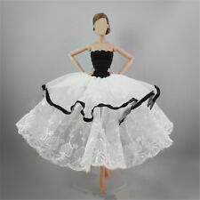 Handmade Black White Tiered Party Princess Dress Wedding Clothes for Barbie Doll