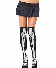 Sexy Acrylic Skeleton Over The Knee Socks Halloween Costume Hosiery Black Bones