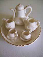 Miniature Tea Set for Dolls Decorative Porcelain Bone China w/ Gold Trim