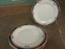 Set of 4 Pier 1 One ~ Celebration Salad Plates ~ Colored band