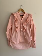 Bassike Pink Cotton Frill Long Sleeve Button Up Shirt Size 1