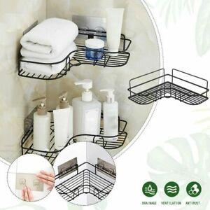 2Pcs Punch-Free Corner Shower Shelf Holder Bathroom Kitchen Storage Tripod Rack