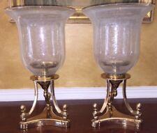 Set of 2 Brass/Glass Hurricanes