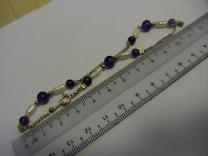 Amethyst beads, baroque freshwater pearls and silver chain anklet