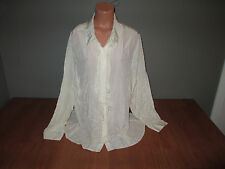 New Womens Plus Size 4X 26W 28W George Silk Ivory Button Front Shirt Top Blouse