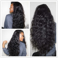 Women's Natural Long Curly Wavy Hairstyle Black Synthetic Hair Lace Front Wig