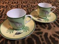 Hermes Paris Africa Giraffe Demitasse Tea Cup & Saucer 2 Sets Green No box
