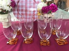 New listing Vintage Set of Eight Glass Water Glasses Honey Amber Ribbed Stem