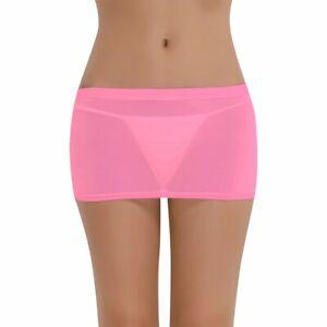Women Sexy Mesh Shorts Sheer Skirt Slim See Through Bodycon Night Show Clubwear