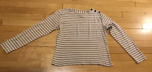 Le Minor Women's Striped Breton Top Beige & Ivory Size 3 France Anchor Buttons