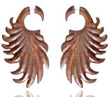 Big Fake Guage Wood Earring Wer175 Tibetan Craft Handmade Tribal Carving Design