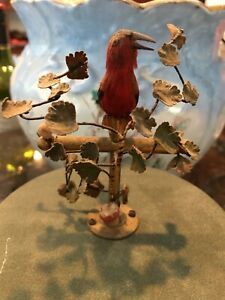 Vintage German Mechanical Automation Singing Bird in Cage