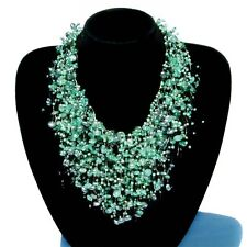 Emerald Green Chunky Choker faux Pearl Bride Jewelry Cocktail Statement NECKLACE