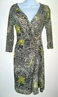Apt 9 Faux Wrap Dress Women XS Black/White/Citron Floral Abstract Buckle Detail