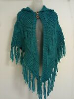 Hnadmade Womens chunky Cable knit Hooded Poncho Shawl cape Teal Blue wood button