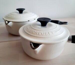 ❤ 2 x Vintage Le Creuset Saucepans Dune/Almond/Cream/Off White 16/18cm w/ Lids👌