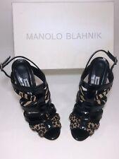 Manolo Blahnik Italy 38.5 Animal Print Strapped Heels Ankle Strap $889 US Sz 8.5