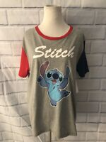 NWT Disney Lilo & Stitch T-Shirt Sz L Gray Red Blue  Short Sleeve Top Stitch