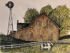 Barn With Linghorn - Small, art reproduction, artist, ink, realism, architecture